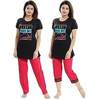 "TUCUTE Women/Girls Cotton Hosiery 3 pcs Top, Pajama & Capri Nightwear/Nighty/Nightsuit/Loungewear/Nightsuit (Top,Pajama & Capri) Size: Large=38"" XL-40 & XXL-42"