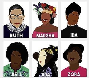 General ART Feminist Icons Ada Lovelace Bell Hooks Ida B Wells Marsha P. Johnson Ruth Bader Ginsburg Zora Neale Hurston Poster Prints Set of 6 Size A4 (21cm x 29cm) Unframed