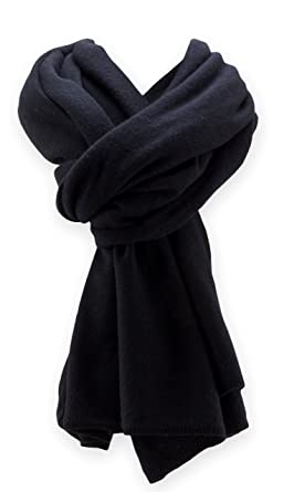 5aceef3f30481 Jet&Bo 100% Pure Cashmere Travel Wrap, Scarf & Blanket Black 12GG at ...
