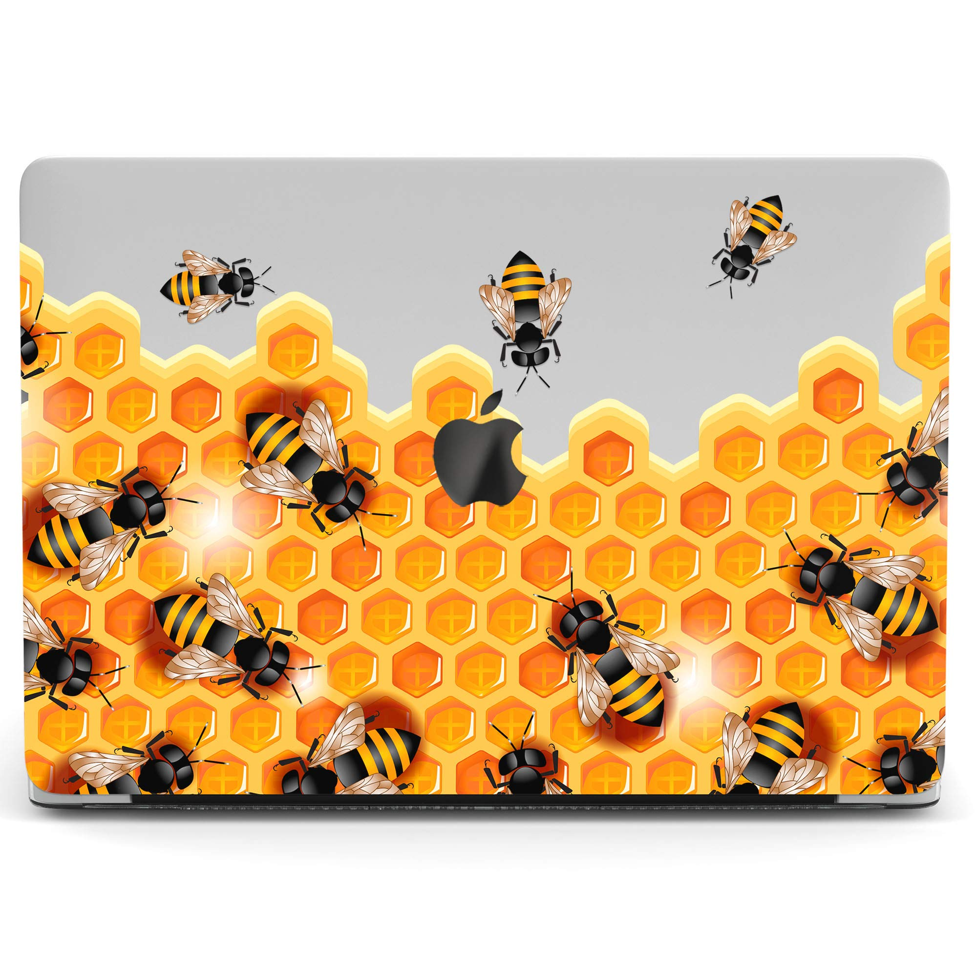 Wonder Wild Mac Retina Cover MacBook Pro 15 inch 12 11 Clear Hard Case Air 13 Apple 2019 Protective Laptop 2018 2017 2016 2015 Plastic Print Touch Bar Cute Animal Bee Honeycombs Teen Hive Kids Yellow