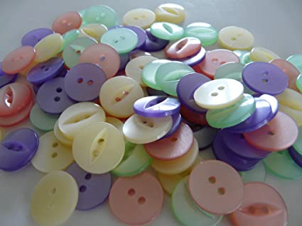 100 FISHEYE BUTTONS ASSORTED COLOURS SIZE 22-13mm