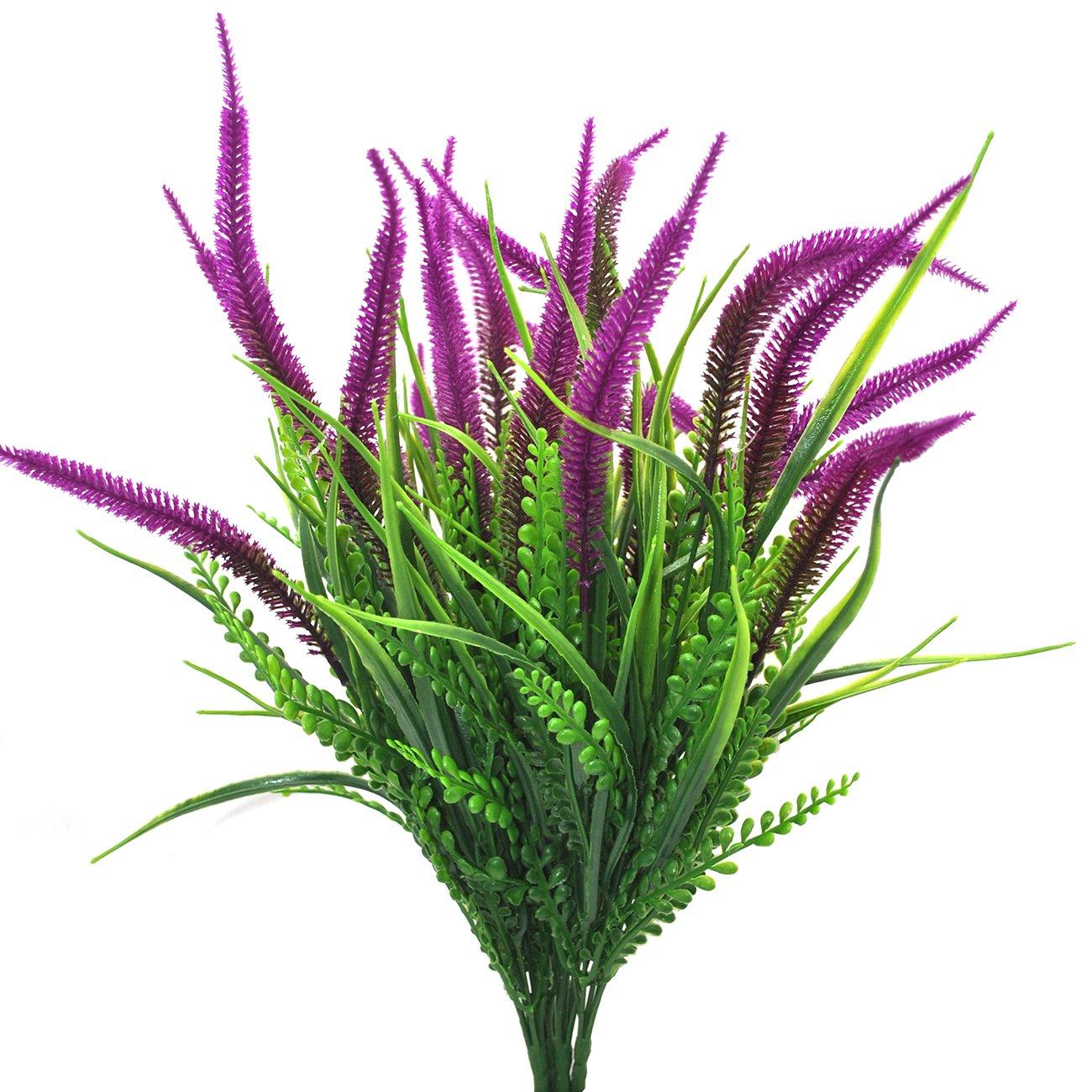 Artificial Flowers 4pcs Faux Plastic Plants Shrubs Simulation Greenery for Wedding Garden Farmhouse outdoor d/écor Purple