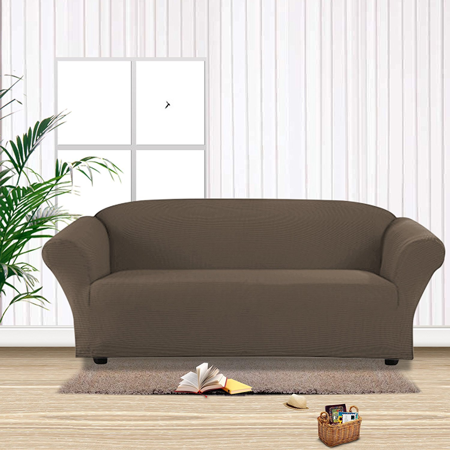 MB Collection Stretch Sofa Slipcover 1 Piece Sofa Bed Cover, Sofa Covers, Furniture Slipcover, Spandex Slipcovers (Taupe)