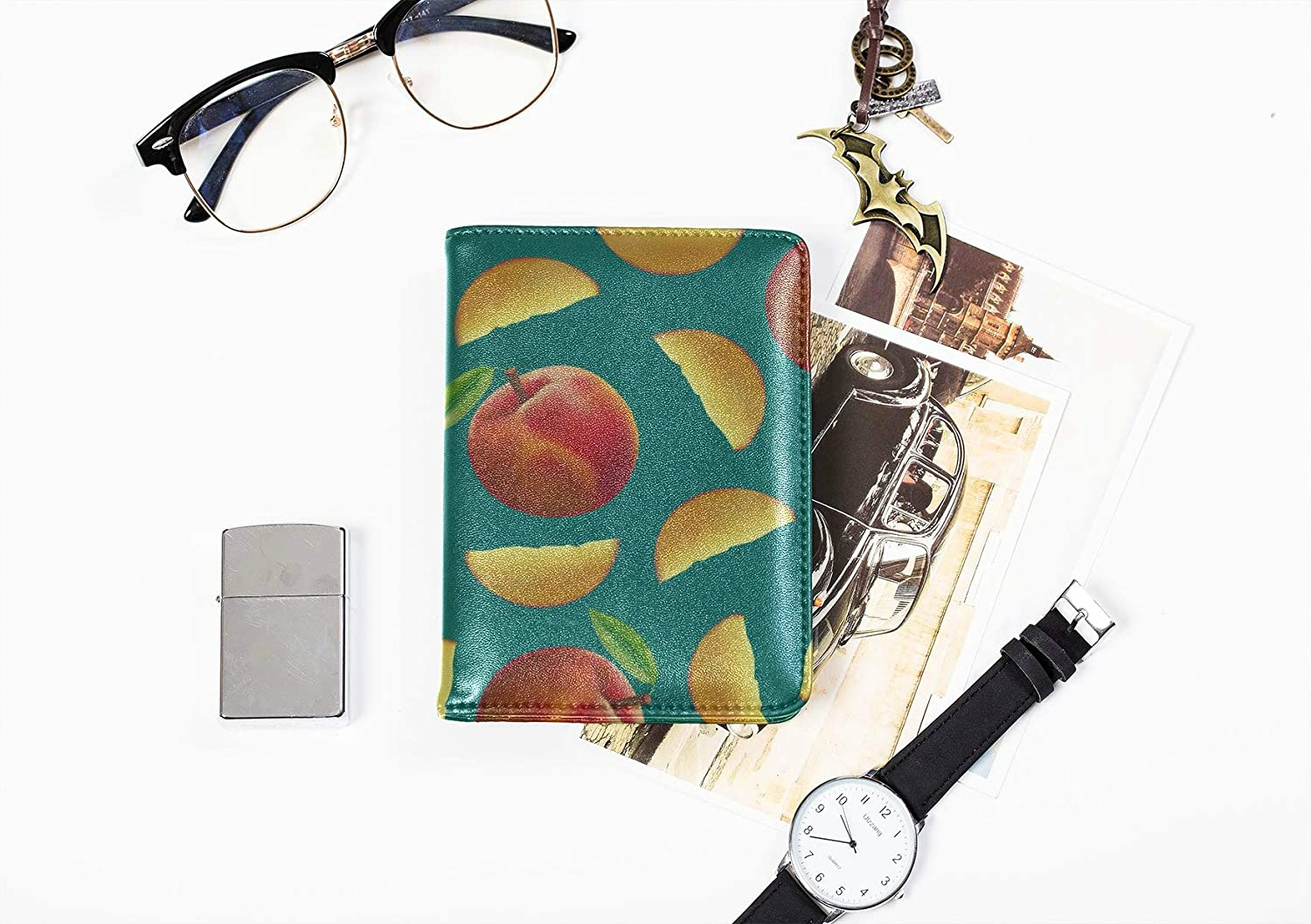 Color Passport Cover Cute Summer Creative Fruit Nectarine Men Passport Cover Multi Purpose Print Passport Case Kids Travel Wallets For Unisex 5.51x4.37 Inch