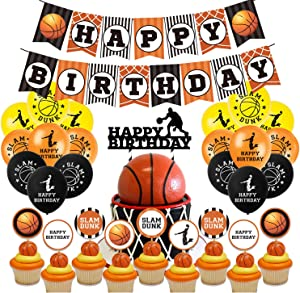 45Pcs JIGUOOR Birthday Party Supplies Happy Birthday Banner Latex Balloons Cupcake Toppers Decoration Basketball Sports Theme Party Decor