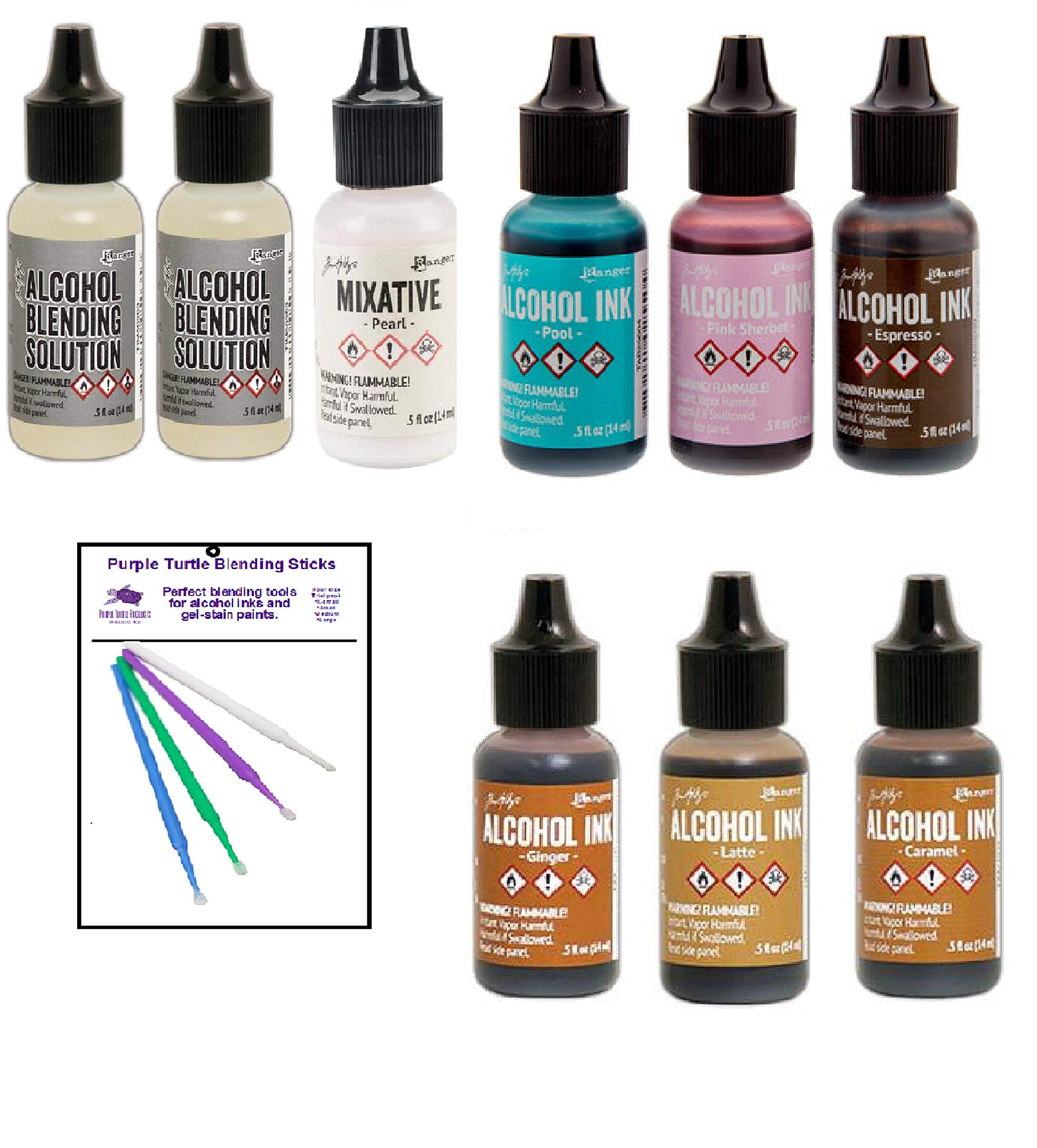 Tim Holtz Adirondack Alcohol Ink Value Pack Bundles of Favorite Colors Plus Pearl Mixative with Two Alcohol Blending Solutions, Bonus Purple Turtle Blending Sticks, (Favorite 7 Browns) by Purple Turtle Products