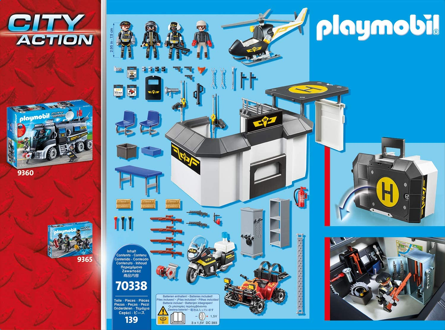 Playmobil 70338 City Action Take Along Police Station with Bikes and Helicopter