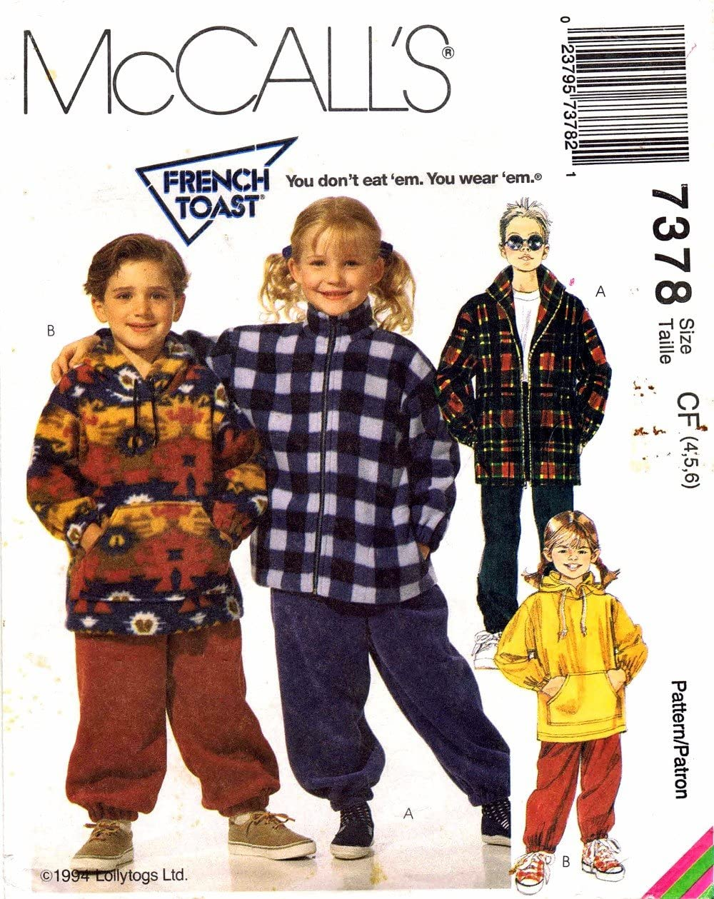 6 1990s Girls Boys Jacket Top Pants McCalls 7378 Sewing Pattern Size 4-5