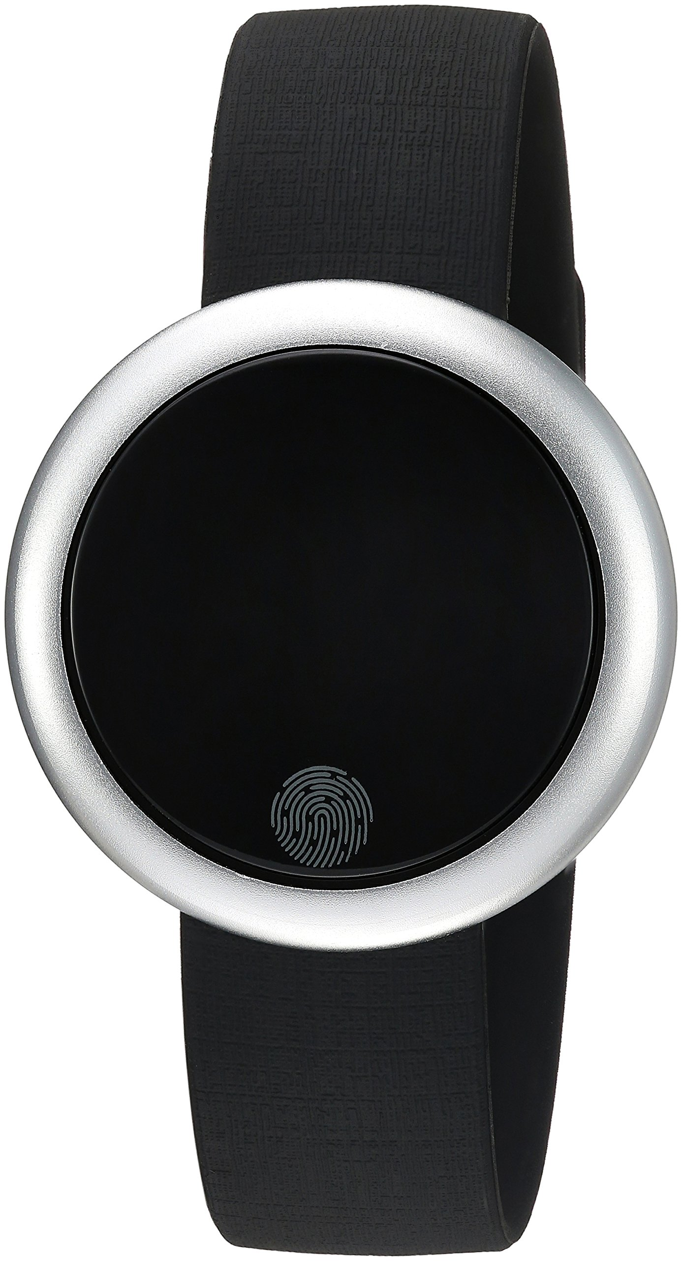 Emotion Unisex Metal and Rubber Smartwatch, Color: Silver-Tone, Black (Model: FMDEM004)