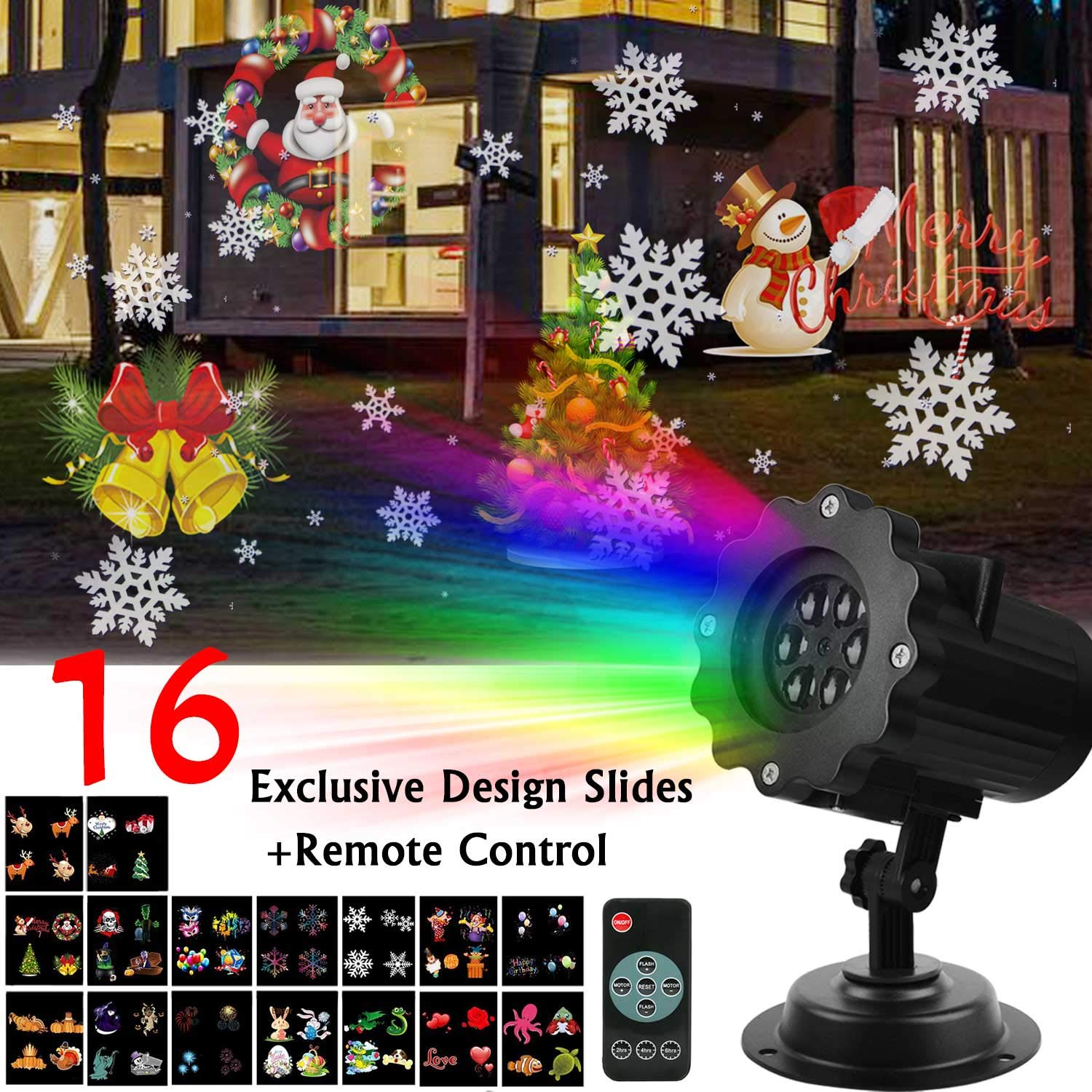 Christmas Projector Light Waterproof Landscape Remote Control Light Projector with 16 Interchangeable Colorful Slides for Christmas New Year Festivals Celebration