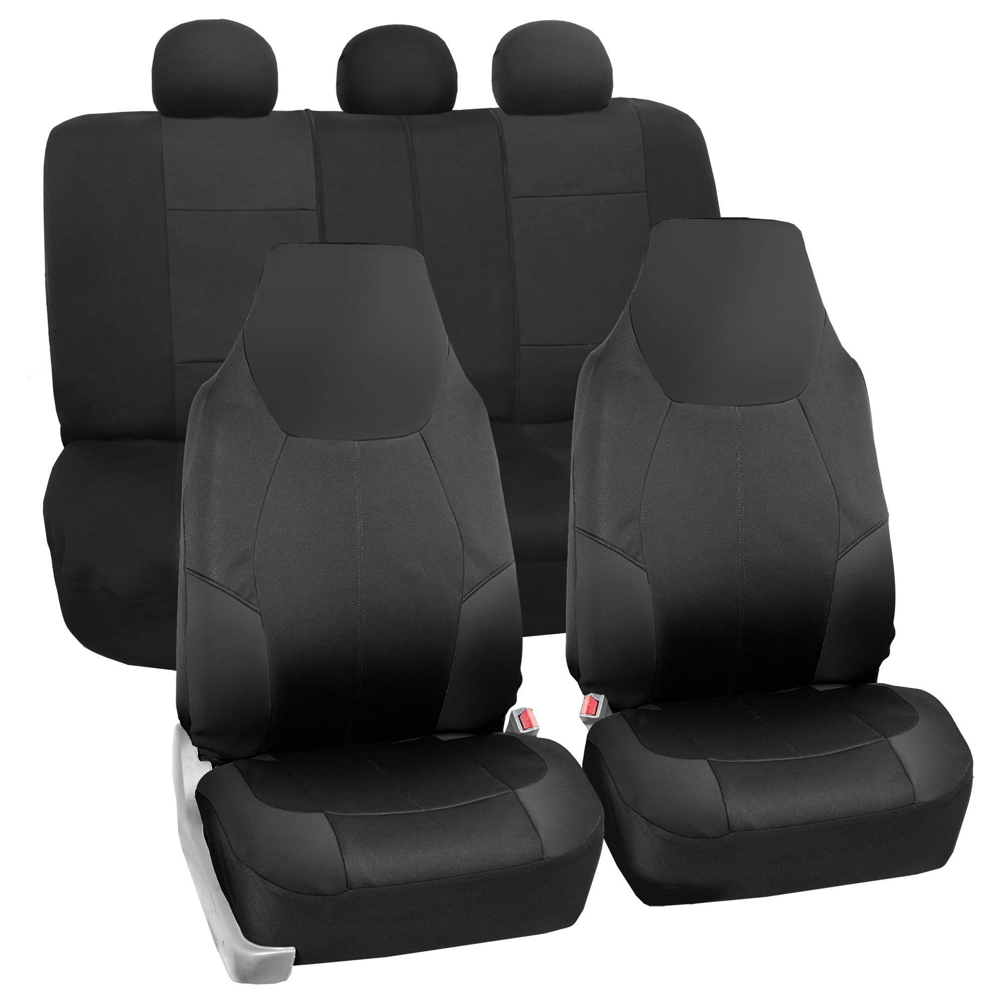 FH GROUP FB116115 Neo-Modern Neoprene Seat Covers, Airbag & Split Ready, Solid Black Color-Fit Most Car, Truck, Suv, or Van