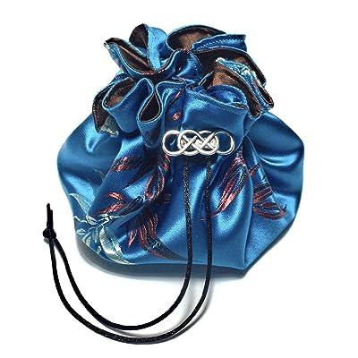 Leaves on Water Blue Satin Brocade Dice Bag 8 Sorting Pockets Metal Fastener