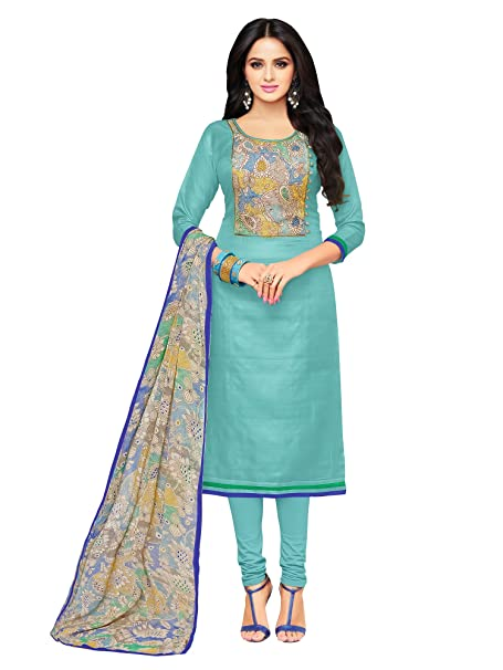 56c1b472a8 Applecreation Women'S Cotton Chanderi Unstitched Dress Material (Sky  Blue_Free Size): Amazon.in: Clothing & Accessories