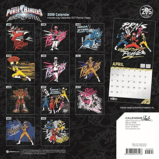 amazon com power rangers wall calendar kids tv by calendar ink