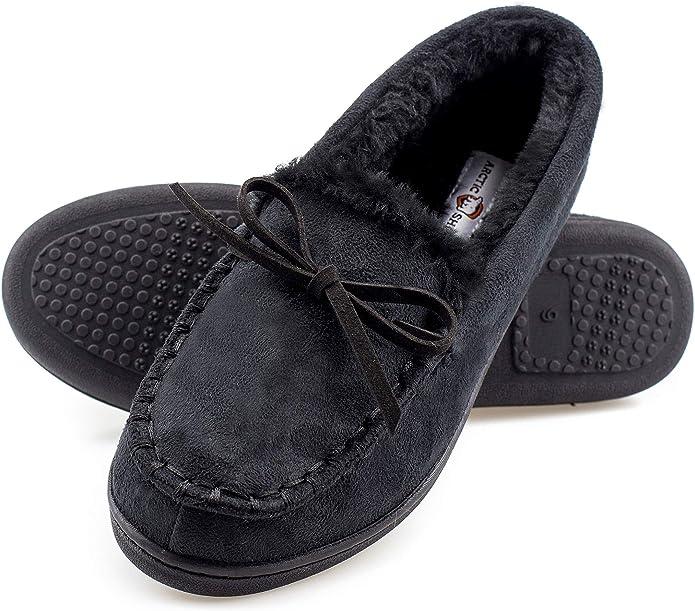 Womens Polar Memory Foam Moccasin Rubber Sole Anti Slip Durable Slippers UK 3-9