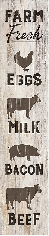 P. Graham Dunn Farm Fresh Animals Rustic Whitewash 7.25 x 1.5 Inch Wood Vertical Tabletop Block Sign