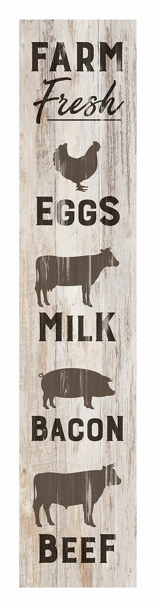 P Graham Dunn Farm Fresh Animals Rustic Whitewash 1.5 x 7.5 Inch Wood Vertical Tabletop Block Sign