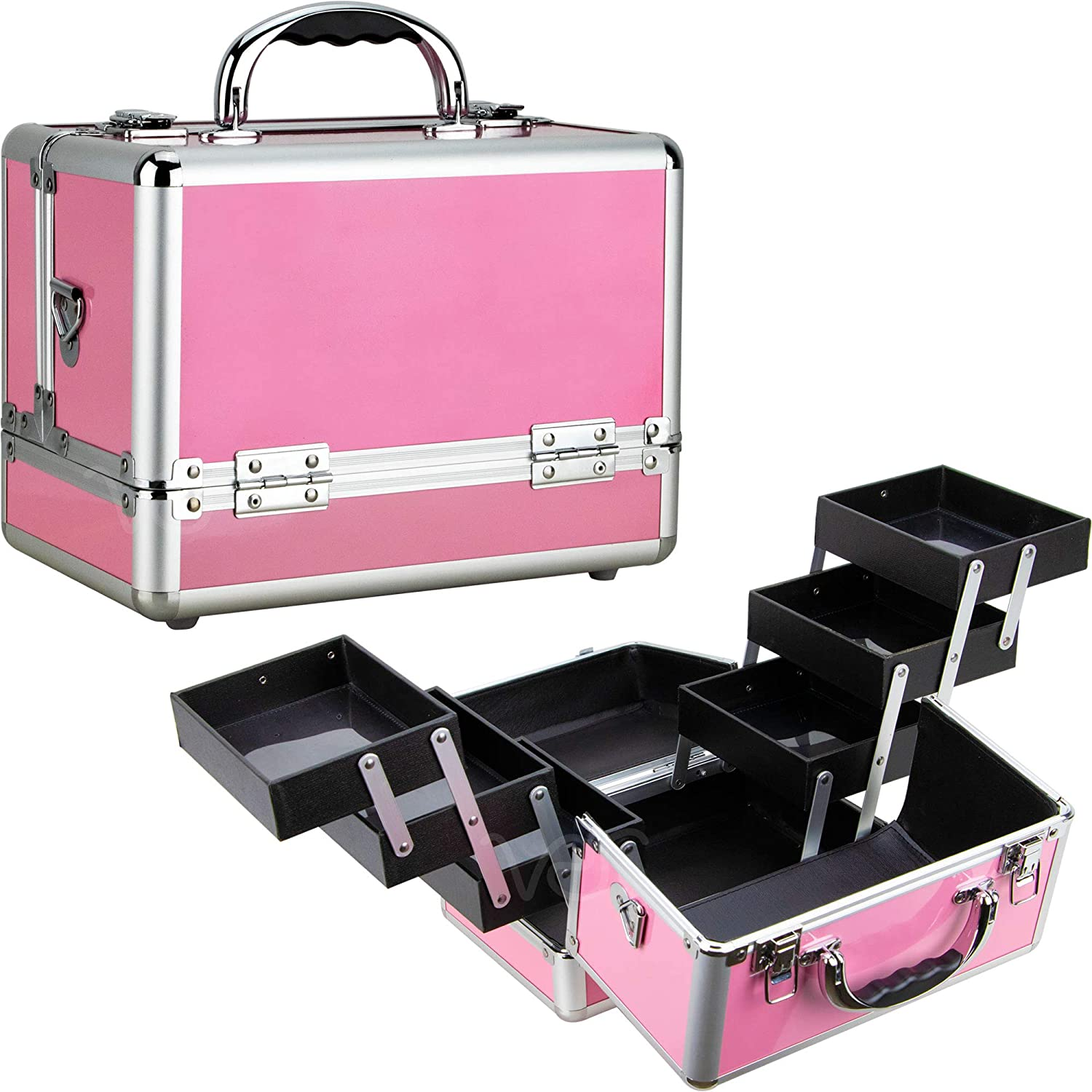 Sunrise 6-Tiers Extendable Trays Makeup Artist Travel Cosmetic Organizer Train Case w Shoulder Strap