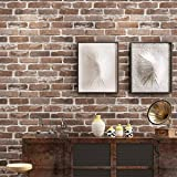 Akea Faux Old Brick Wallpaper Roll, Flat 3D Effect Blocks Stone Look Removable Wall Paper Vintage Home Decoration (Brown…
