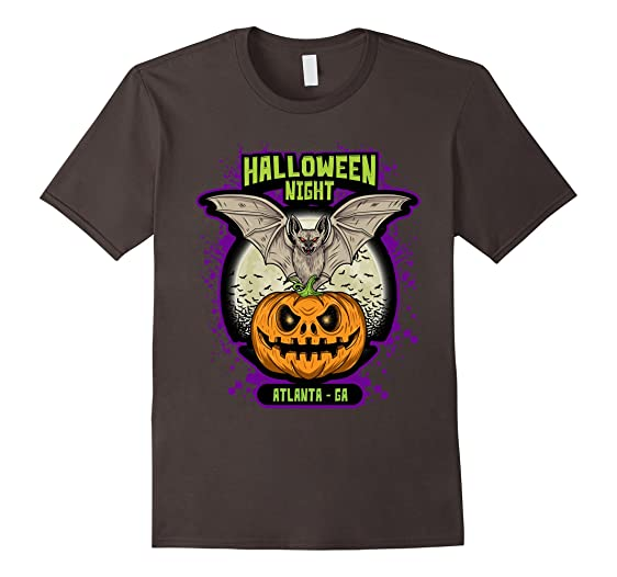 mens halloween night atlanta ga tshirt bat jack o lantern pumpkin 2xl asphalt