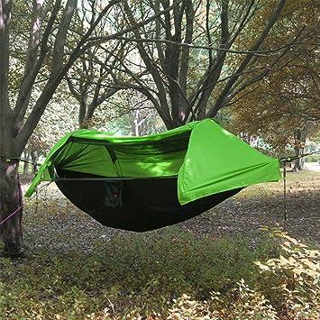 Camping hamaca con mosquitera y protector de lluvia ligero portátil de paracaídas cordón dormir Swing para