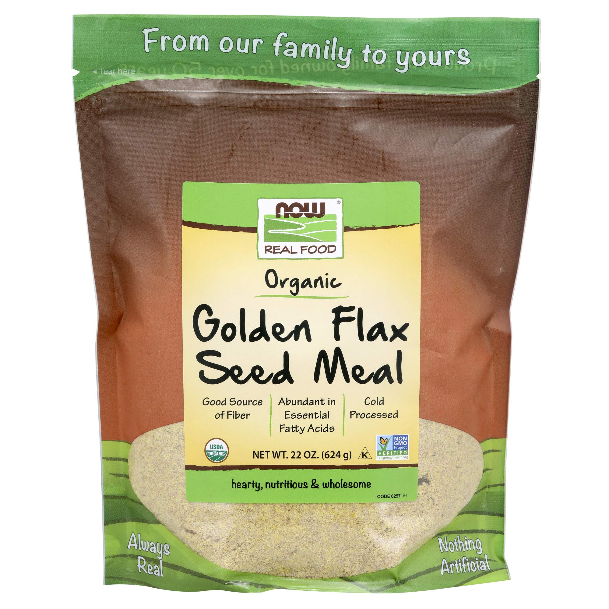 NOW Foods, Organic Golden Flax Seed Meal, Source of Fiber and Essential Fatty Acids, Cold-Processed, 22-Ounce