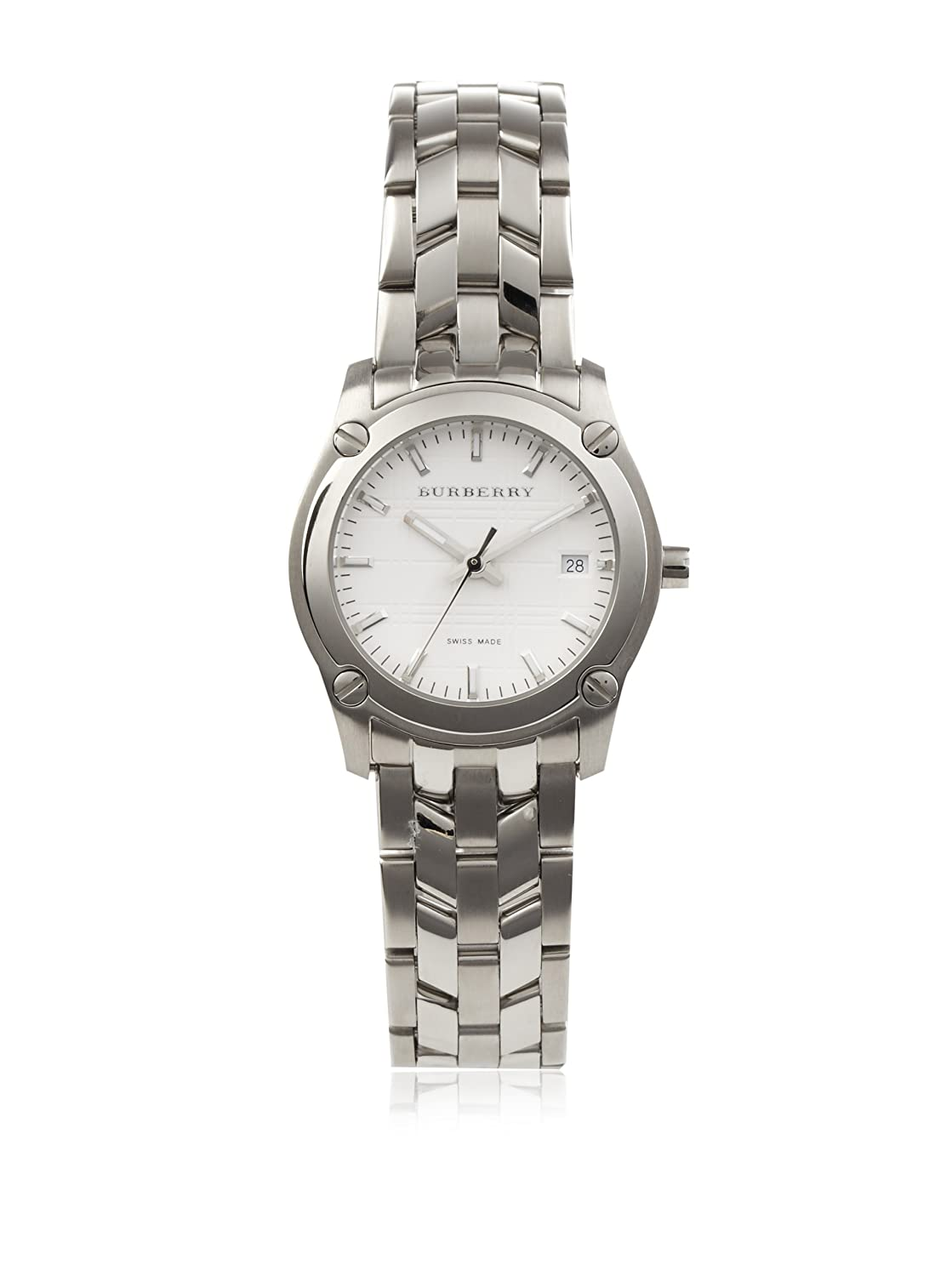 10ade229b198 Amazon.com  Burberry Women s BU1853 Heritage Silver-Tone Stainless Steel  Watch  Watches