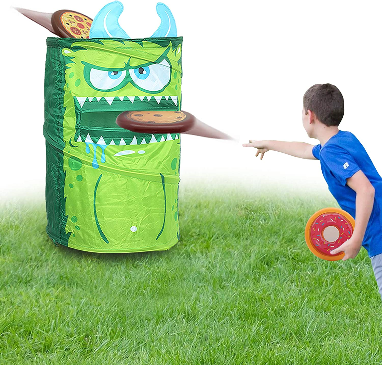 KreativeKraft Juego Lanzamiento del Monstruo Verde! | Juguete Jardin Niños para Fiestas De Verano | Juguete Exterior Infantil Corn Hole De 4 Piezas con 3 Discos Frisbee | Juguete Verano Niños: Amazon.es: Juguetes y juegos