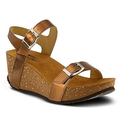 Women's Spring Step Shiri Sandal  Color Bronze  Women's Trendy Metallic Leather Sandal