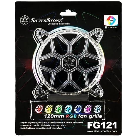 SilverStone Technology 120mm RGB LED Fan Guard / Grill for ASUS AURA SYNC /  MSI Mystic Light Sync / ASROCK AURA RGB / BIOSTAR RACING and Others FG121