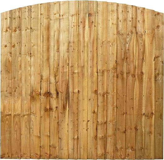 Waltons - Panel de cercado para jardín, de madera tratada por inmersión, parte superior curva, 1, 8 m x 1, 8 m: Amazon.es: Jardín