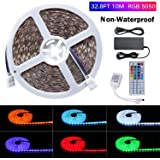 5050 RGB LED Strip Light Kit Lahoku 32.8FT(10m) 600 LEDs Led Light Strip Multicolour Changing LED Tape Light with 24V 6A Power Supply and 44Key IR Remote Controller (Non-Waterproof)