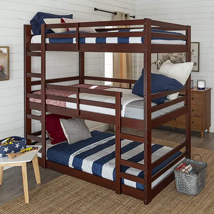 Walker Edison Furniture Company Wood Twin Triple Bunk BedKids Bed Bedroom with Guard Rail and Ladder, Espresso Brown Twin, AZW3TOTES