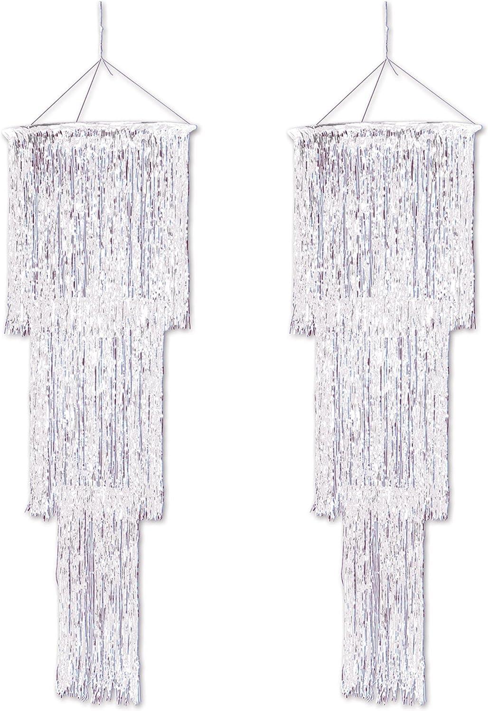 Beistle , 2 Piece 3-Tier Shimmering Chandeliers, 4' (Opalescent)