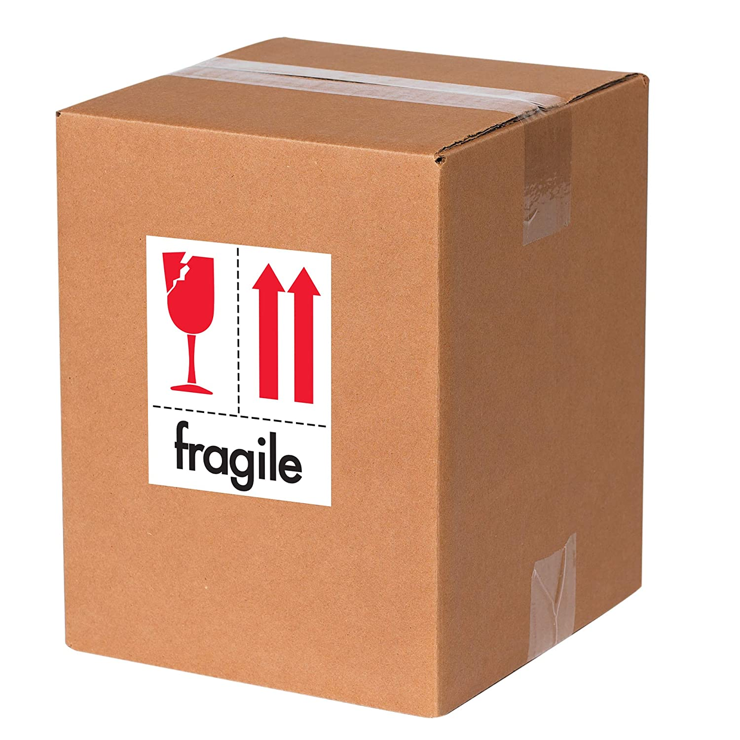 Red//White//Black 3 x 4 Tape Logic TLIPM319 Labels,Fragile 1 Roll of 500 Labels Wine Glass Image with Two Arrows