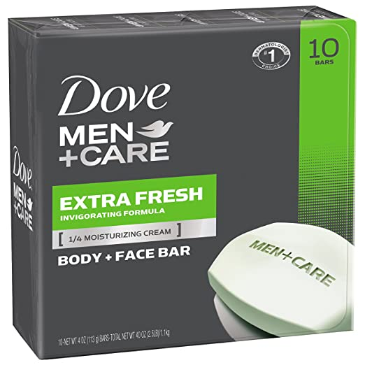 Dove Men+Care Body and Face Bar, Extra Fresh 4 oz, 10 Bar