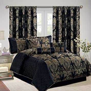 Set de couvre lit en jacquard de luxe avec rideaux assortis   228