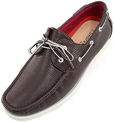 Herren 100% Leder Smart/Casual/Sommer Lace Up Boot/Deck Schuhe/Schlupfschuhe, Braun - braun - Größe: 45.5