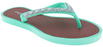 15d6730e3652 Capelli New York Ladies Fashion Flip Flops with Rhinestone and Gem Trim Mint  6