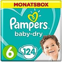 Pampers Baby-Dry Windeln, Gr. 6, 13-18kg, Monatsbox, 1er Pack (1 x 124 Stück)