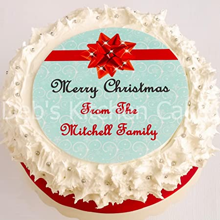 Christmas Cake Decorating Ideas With Buttercream.Christmas Cake Topper Personalised Christmas Cake Decoration Edible Icing 7 5 19cm Round