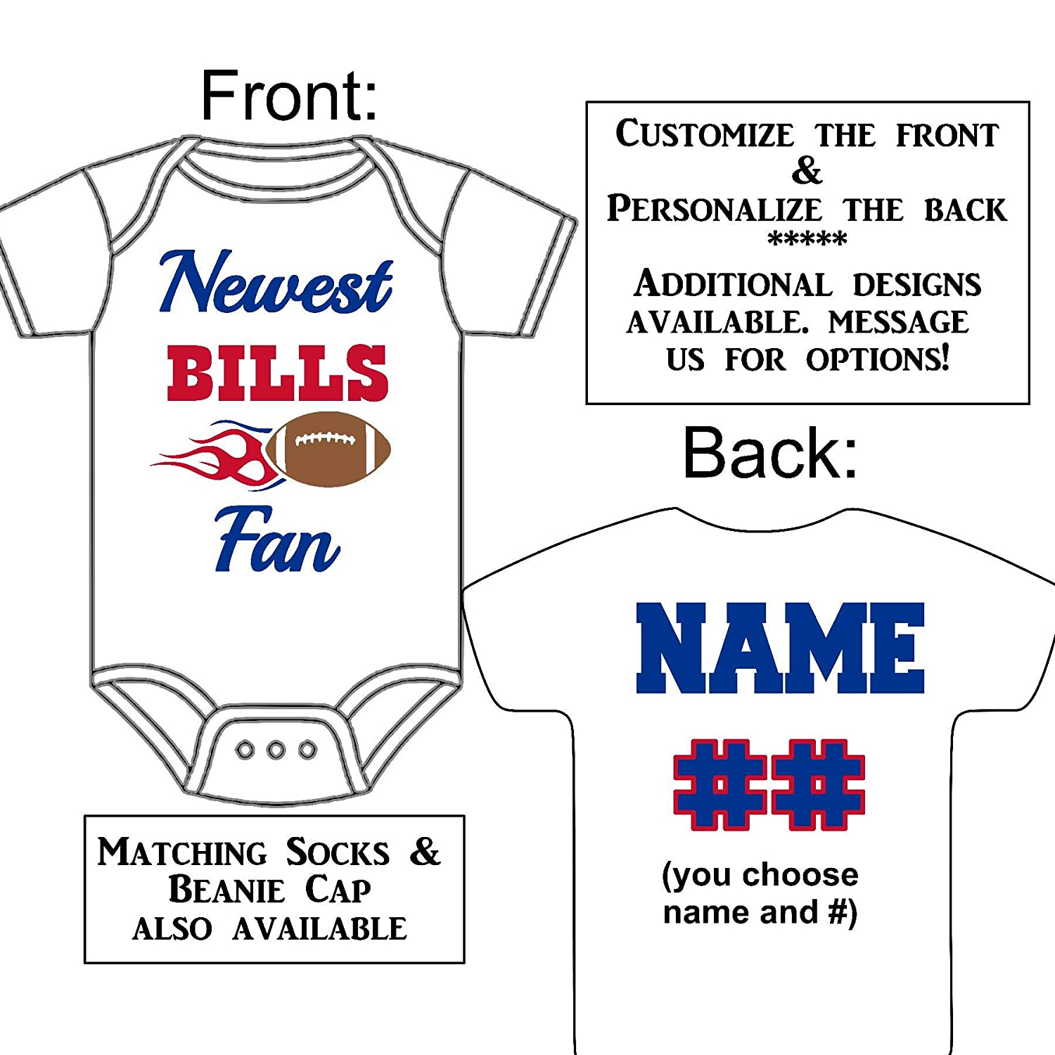Personalized Custom Made Newest Bills Fan Football Gerber Onesie Jersey Baby Announcement Reveal or Shower Gift