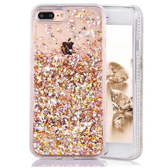 new arrival d0c6d 2cd88 Case for iPhone 8 Plus/iPhone 7 Plus,CRAZY PANDA Dynamic Glitter Case with  Soft Rubber Border and Bling 3D Sparkle Moving Diamond for iPhone 7 ...