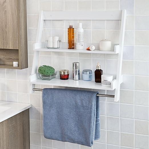 Sobuy FRG117-W, IT Estante Tipo Escalera para baño, con Toallero, Color Blanco: Amazon.es: Hogar