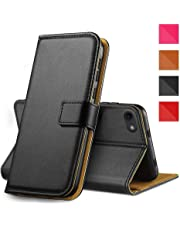 "Genuine Real Leather Case For iPhone 7/8 Premium Wallet Case with [Kickstand] [Card Slots] [Magnetic Closure] Flip Notebook Cover Case for (iPhone 7/8 4.7"" Black)"