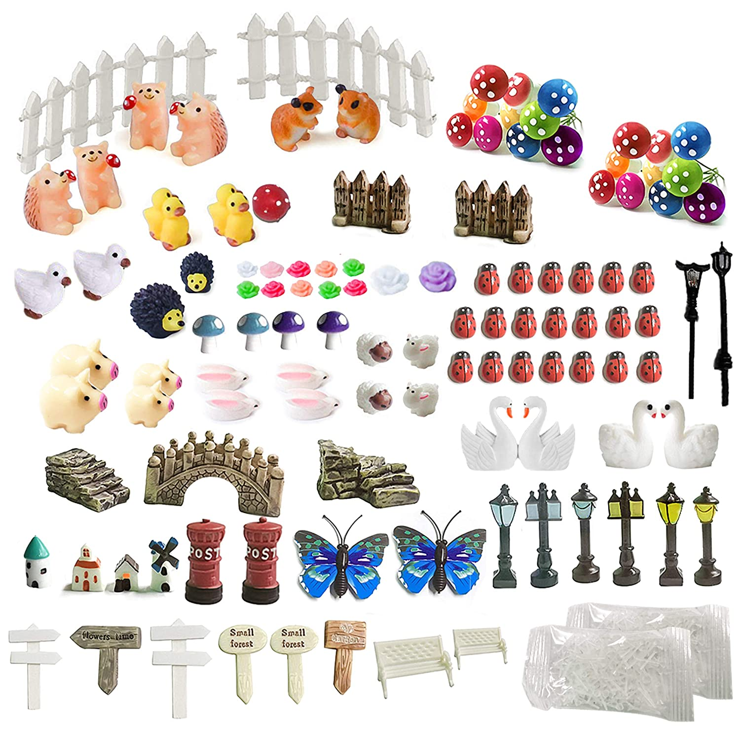 ZJW 112 Pieces Miniature Fairy Garden Decorations, DIY Micro Landscape Ornaments Kit, Include Mini Animals, Mushrooms, Lights, and Fence