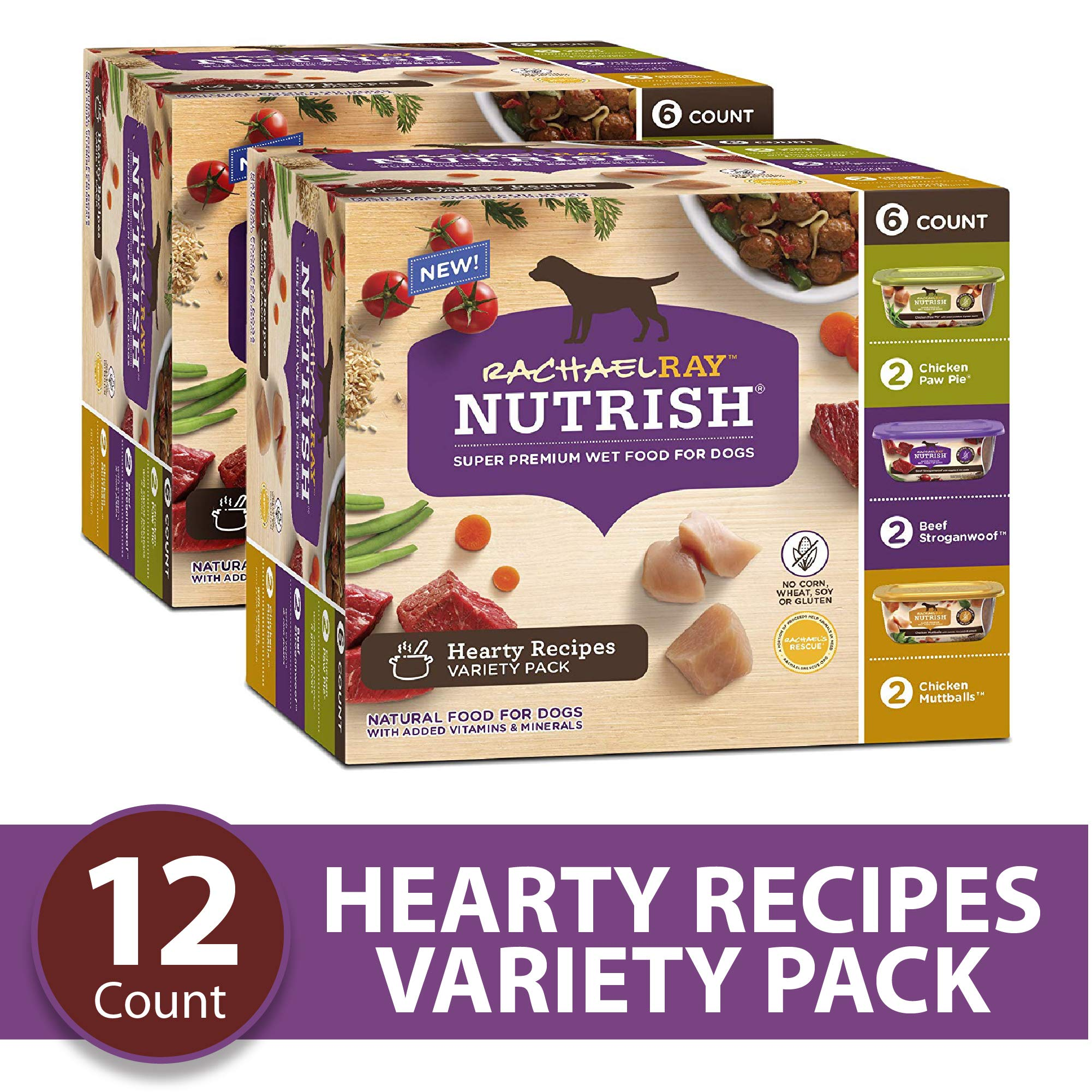 Rachael Ray Nutrish Natural Premium Wet Dog Food, Hearty Recipes Variety Pack, 8 Oz. Tub (Pack Of 12) by Rachael Ray Nutrish
