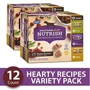 Rachael Ray Nutrish Premium Natural Wet Dog Food, Hearty Recipes Variety Pack, 8 Ounce Tub (12 Count)
