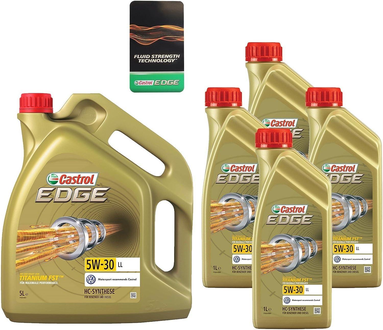 4x 1 L 5 L 9 Liter Castrol Edge Fluid Titanium 5w 30 Ll Motoröl Inkl Castrol Ölwechselanhänger Auto