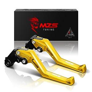MZS Short Levers Brake Clutch Adjustment for Kawasaki KLX150S 09-13/KLX125 10-16/KLX250 08-16/Ninja 250R 08-12/Ninja 300R Z300 13-18/Ninja 400 2018/Z125 pro 15-18/Z250SL 16-17/Versys 300 X 17-18 Gold